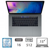 Apple Macbook Pro 15 Touch Bar (2018) i7-8850U@2.6Ghz/16/512SSD/RadeonPro560x/CATALINA 10.15/Space Gray