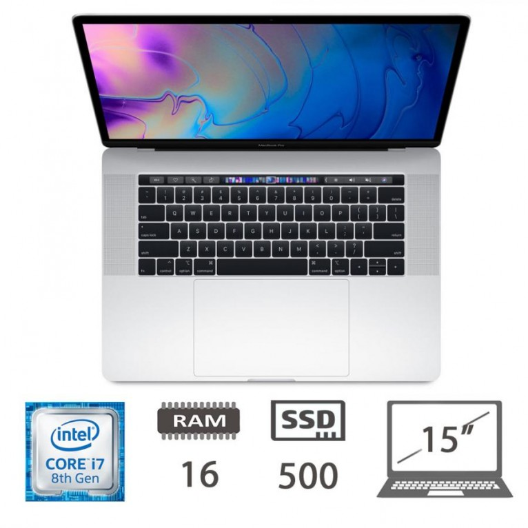 Apple Macbook Pro 15 Touch Bar (2018) 7-8850H@2.6Ghz/16/500SSD/UHD630/RadeonPro560x/MacOs/Silver