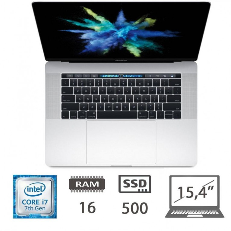Apple Macbook Pro 15,4 Touch Bar (2017)- i7-7700HQ-@2,8Ghz/16/500SSD/MacOs/RadeonPro555/Silver