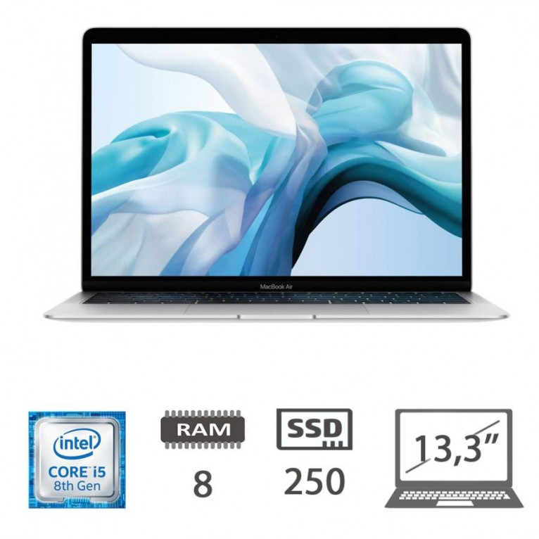 Apple Macbook Air 13.3 (2018)/i5-8210Y-@1.6GHZ/8/250SSD/UHD617/MacOs/Silver - TASTI A-E-S-D-N ROVINATI