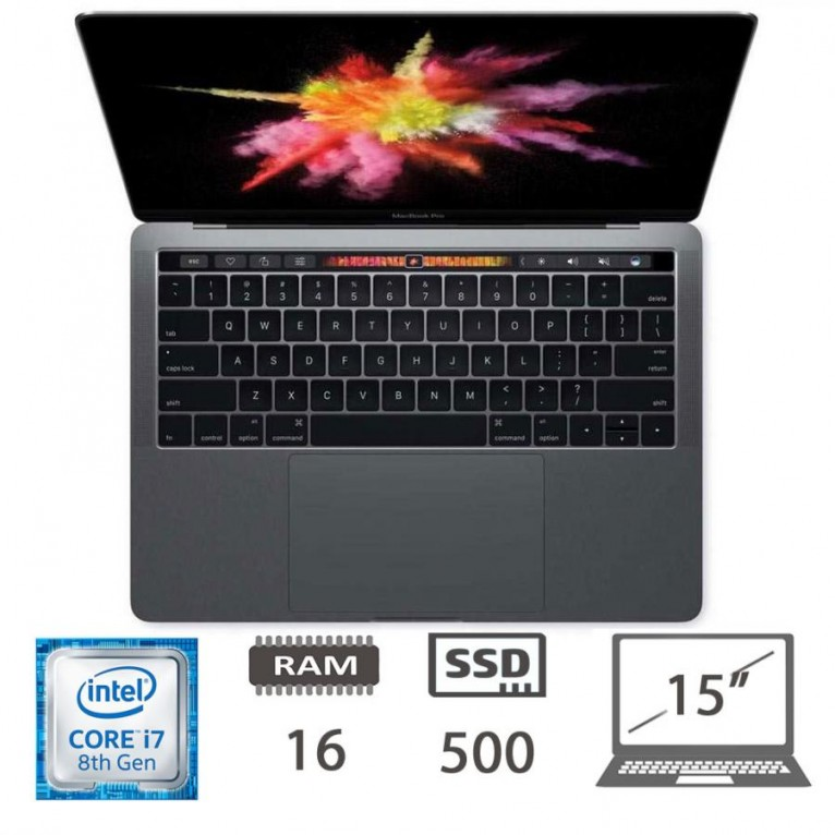Apple Macbook Pro 15 Touch Bar (2018) i7-8850H@2.6Ghz/16/500SSD/RadeonPro560X/MacOs/Space Gray